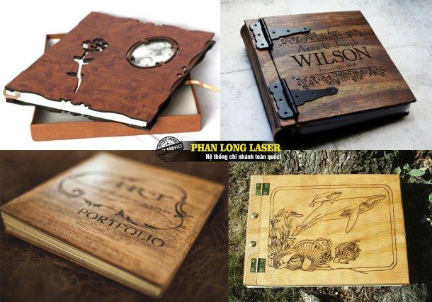 Sổ gỗ khắc tên, sách gỗ khắc tên, bìa menu gỗ khắc laser, album gỗ khắc tên khắc hình theo yêu cầu