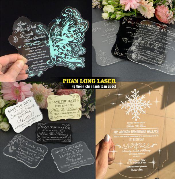 Địa chỉ chuyên nhận cắt khắc laser trên Thiệp cưới Mica theo yêu cầu tại Tphcm Sài Gòn Hà Nội Đà Nẵng và Cần Thơ
