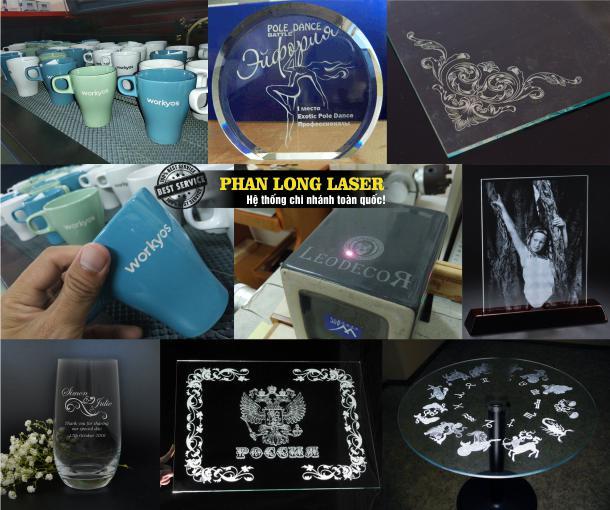 Xưởng khắc laser lên thủy tinh pha lê và gốm sứ tại quận 8 quận 10 Sài Gòn