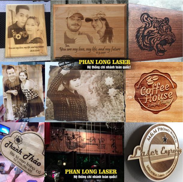 Khắc gỗ laser, khắc biển hiệu quảng cáo gỗ bằng máy laser, khắc logo lên gỗ bằng laser
