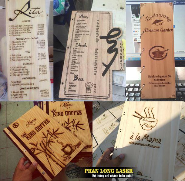 Xưởng Khắc laser theo yêu cầu lên các sản phẩm menu bằng gỗ tại Tp Hồ Chí Minh, Sài Gòn, Đà Nẵng, Hà Nội và Cần Thơ