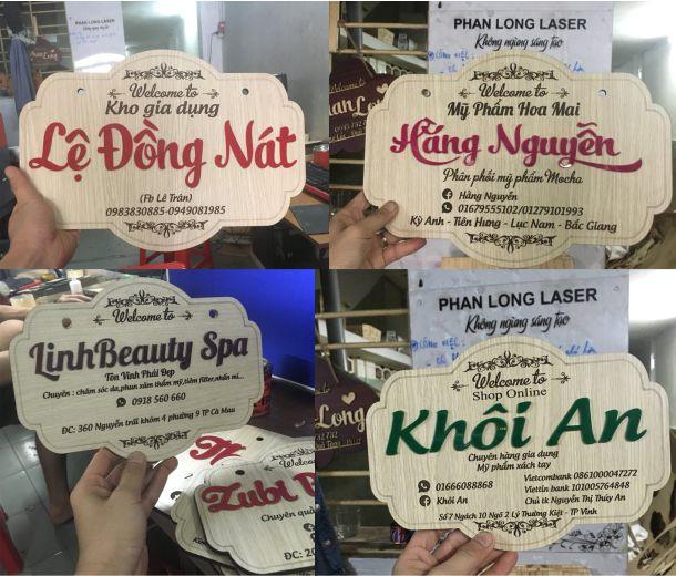 Làm biển gỗ tên shop cho khách hàng tại Tphcm Sài Gòn, Hà Nội, Cần Thơ, Đà Nẵng, Thái Nguyên, Bắc Giang