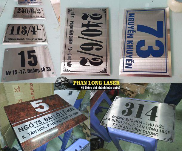 Địa chỉ cơ sở chuyên nhận làm biển số nhà, làm tem nhãn mác, làm biển văn phòng bằng kim loại tại Tphcm Sài Gòn, Hà Nội, Đà Nẵng và Cần Thơ