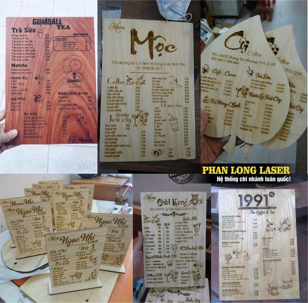 Một số hình ảnh về menu bằng gỗ cho quán trà sữa, quán sinh tố, quán cafe